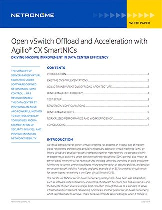 Open vSwitch Offload and Acceleration with Agilio CX SmartNICs