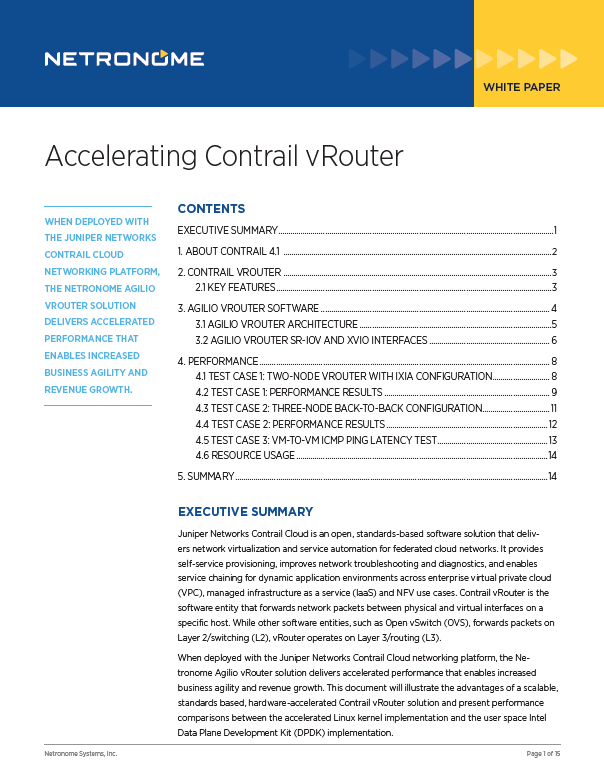 Accelerating Contrail vRouter