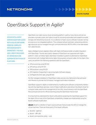 OpenStack Support in Agilio