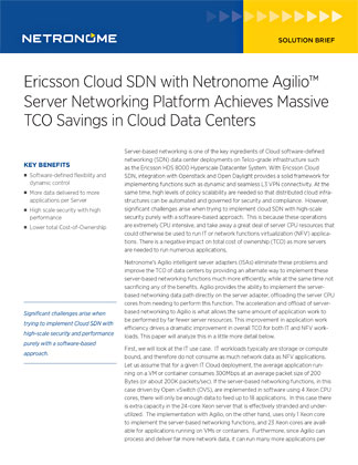 Ericsson Cloud SDN with Netronome Agilio Server Networking Platform Achieves Massive