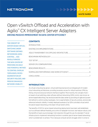 Open vSwitch Offload and Acceleration with Agilio CX Intelligent Server Adapters