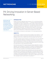 P4: Driving Innovation in Server-Based Networking