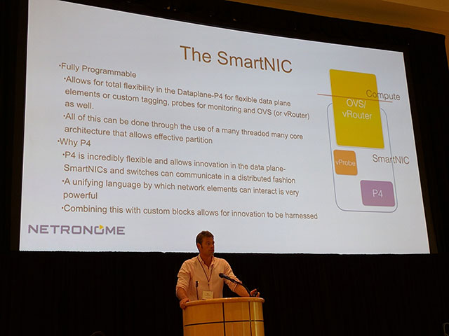 Speaker presenting Comparing OpenFlow and P4 SmartNIC Data Planes